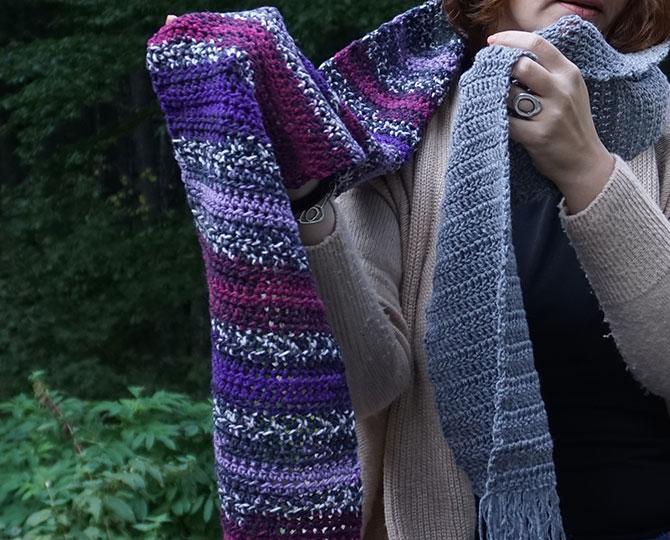 Дълъг шал с ресни в лилаво и сиво-5